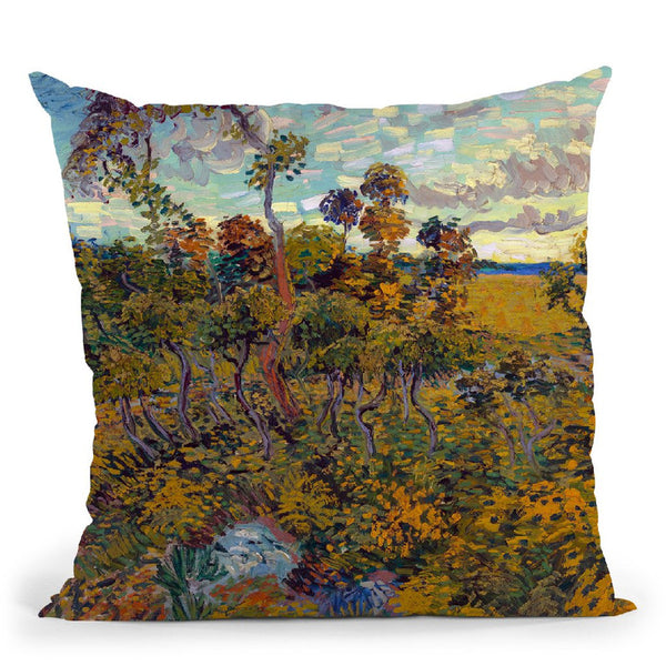 Sunset At Montmajour Throw Pillow By Van Gogh