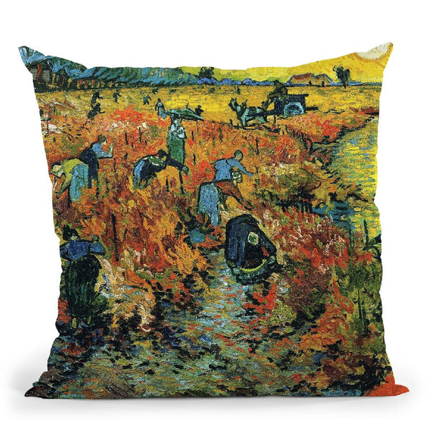 The Red Vineyard Throw Pillow By Van Gogh