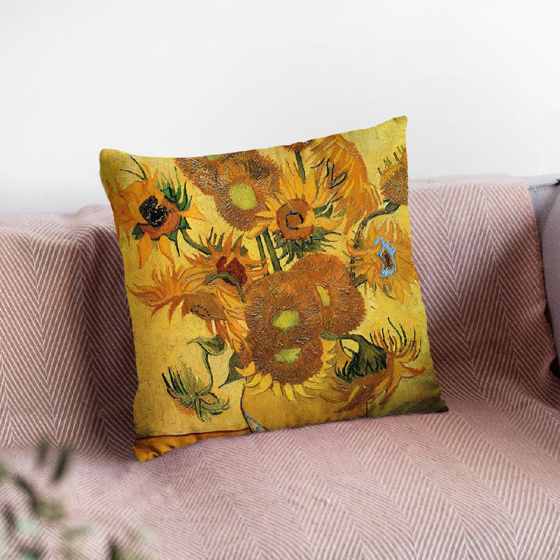 Vase With Fifteen Sunflowers Throw Pillow By Van Gogh