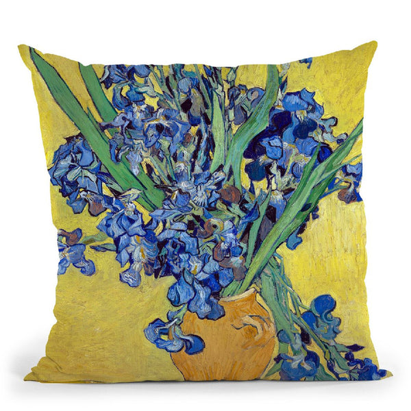 Vase With Irises Throw Pillow By Van Gogh