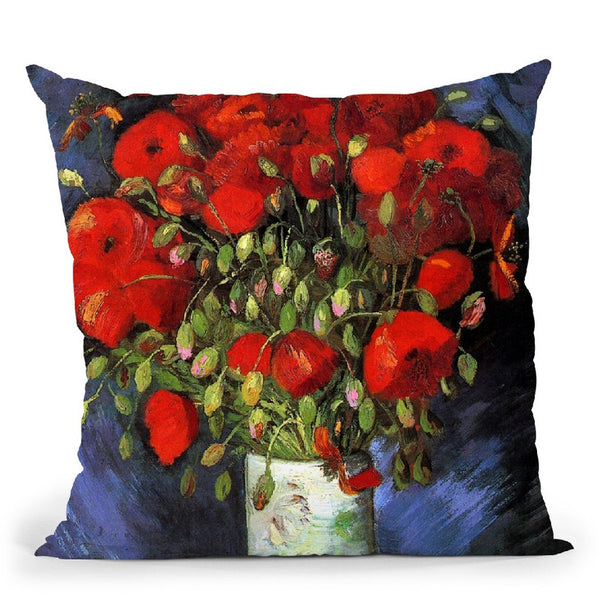 Vase With Red Poppies Throw Pillow By Van Gogh