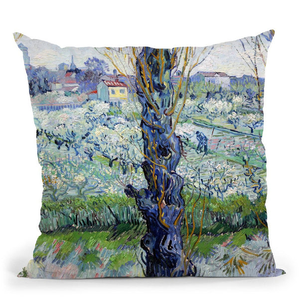 View Of Arles, Flowering Orchar Throw Pillow By Van Gogh
