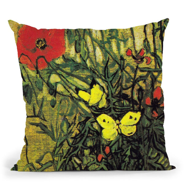 Butterflies And Poppies Throw Pillow By Van Gogh