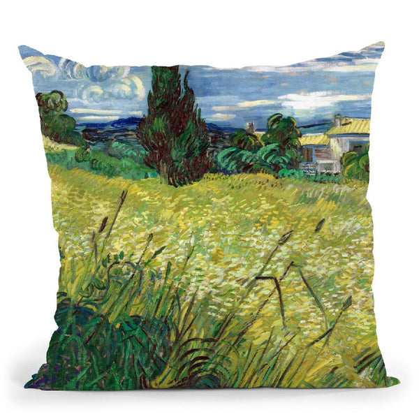 Green Wheat Field With Cypress Throw Pillow By Van Gogh