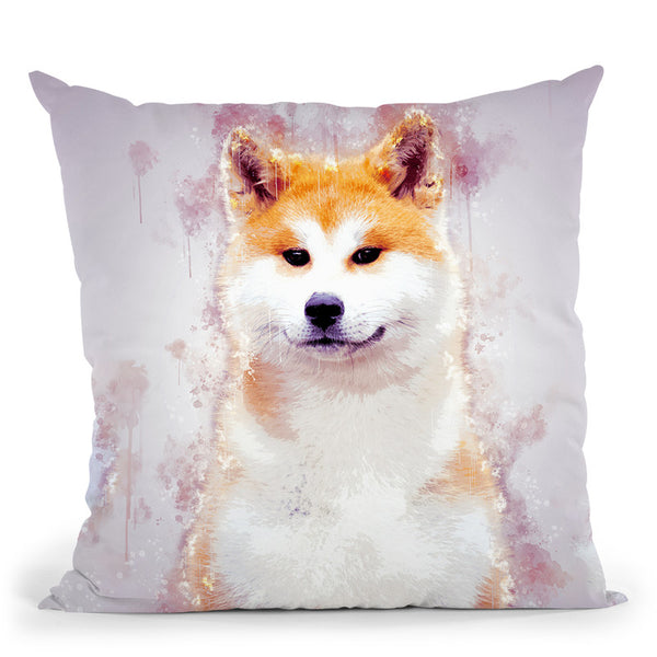 Akita Inu Japanese Throw Pillow By Cornel Vlad - by all about vibe