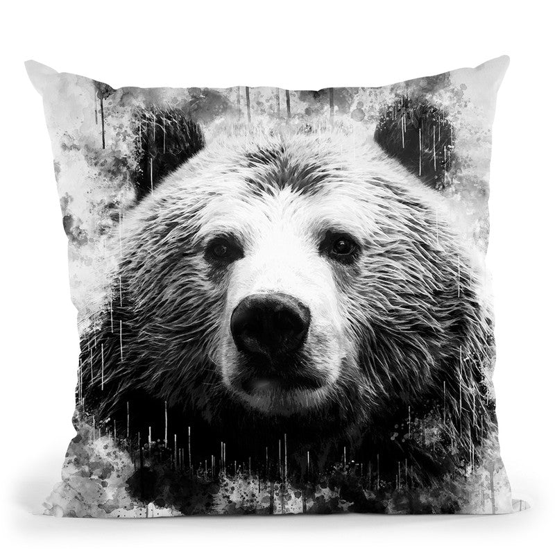 Bear Head I Throw Pillow By Cornel Vlad - by all about vibe