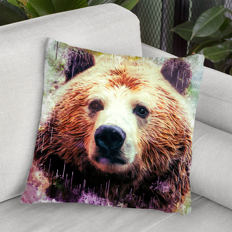 Bear Head Throw Pillow By Cornel Vlad - by all about vibe