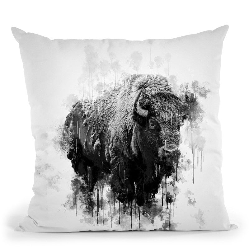 Bison I Throw Pillow By Cornel Vlad - by all about vibe