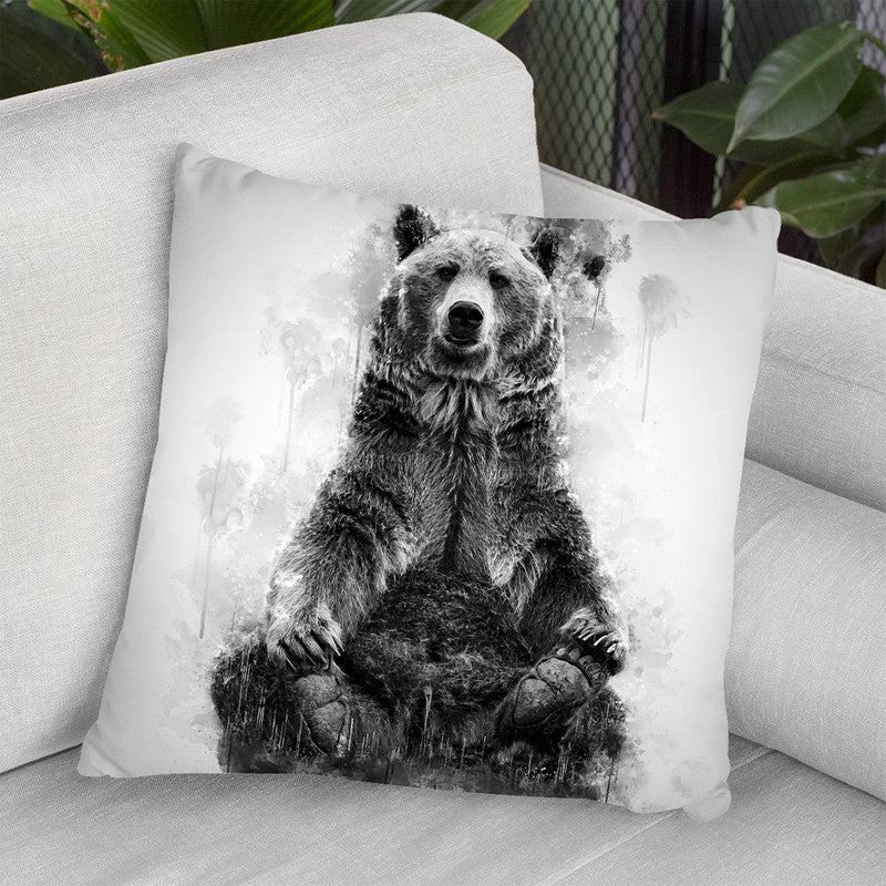 Brown Bear Sitting I Throw Pillow By Cornel Vlad - by all about vibe