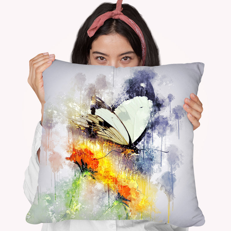Butterfly On Yellow Flower Throw Pillow By Cornel Vlad - by all about vibe