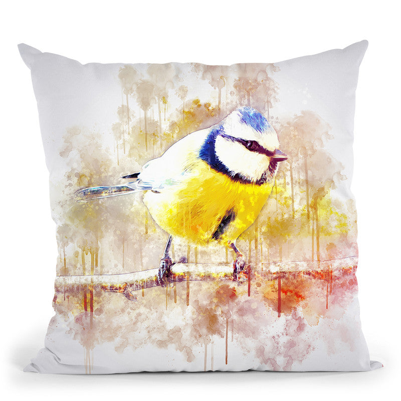 Crested Tit Throw Pillow By Cornel Vlad - by all about vibe
