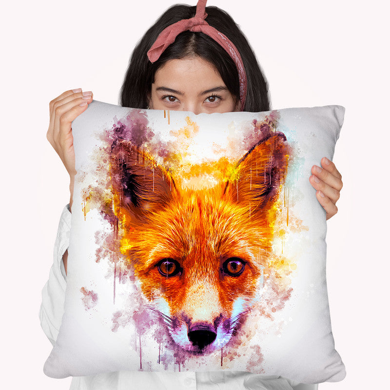 Fox Head Throw Pillow By Cornel Vlad - by all about vibe