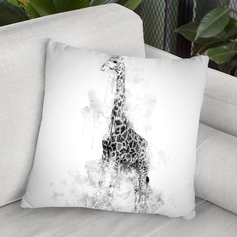 Giraffe Blackndwhite Throw Pillow By Cornel Vlad - by all about vibe