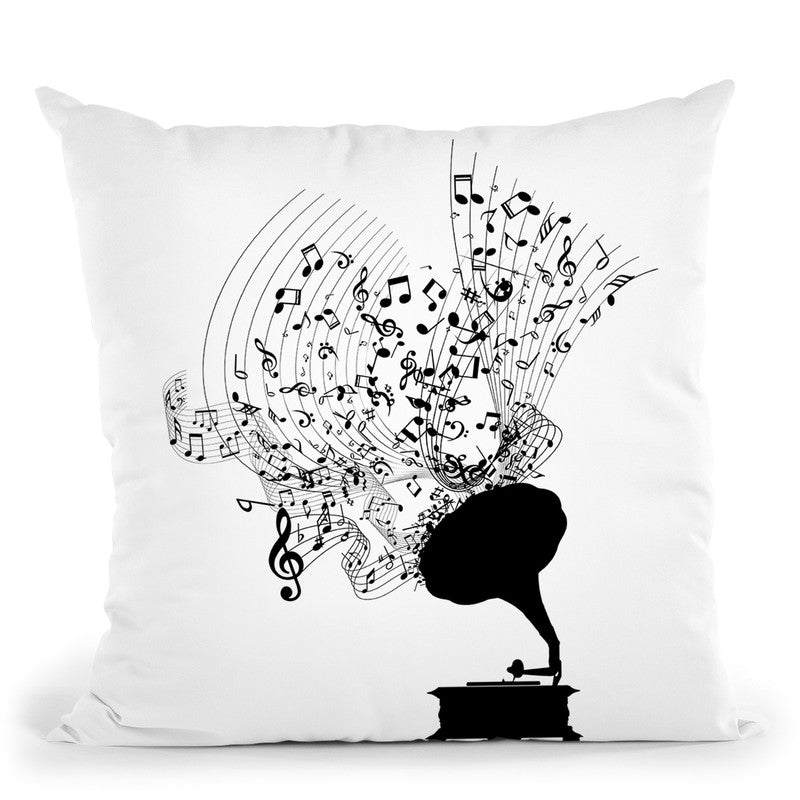 Gramophone And Music Notes Throw Pillow By Cornel Vlad - by all about vibe