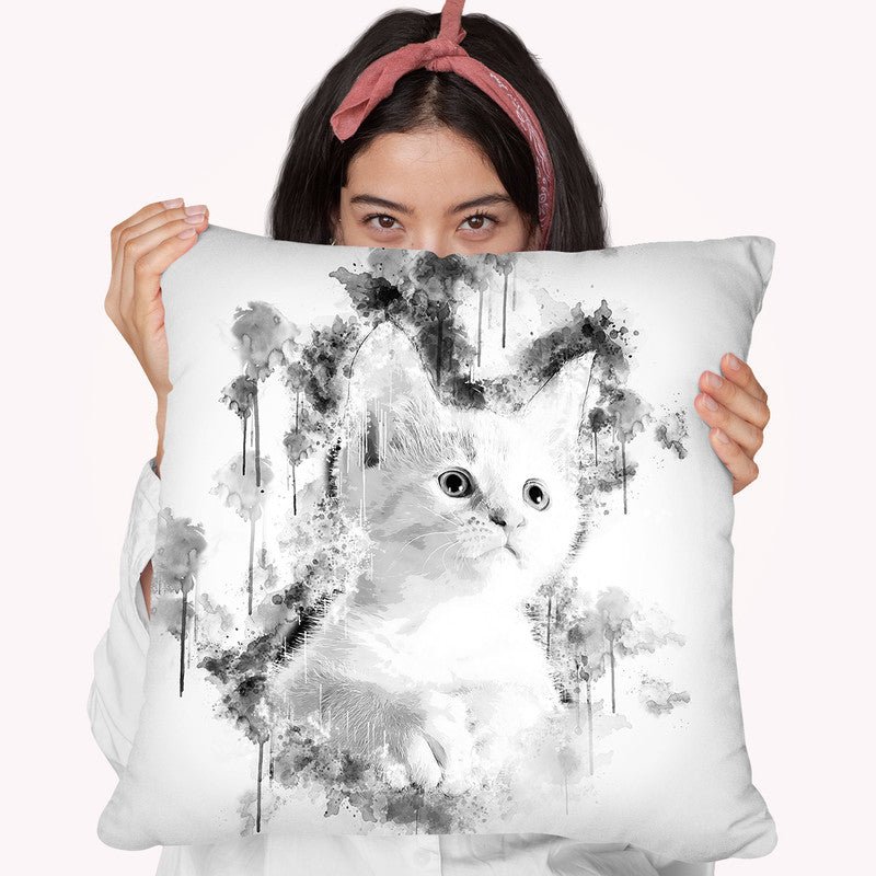 Kitten I Throw Pillow By Cornel Vlad - by all about vibe