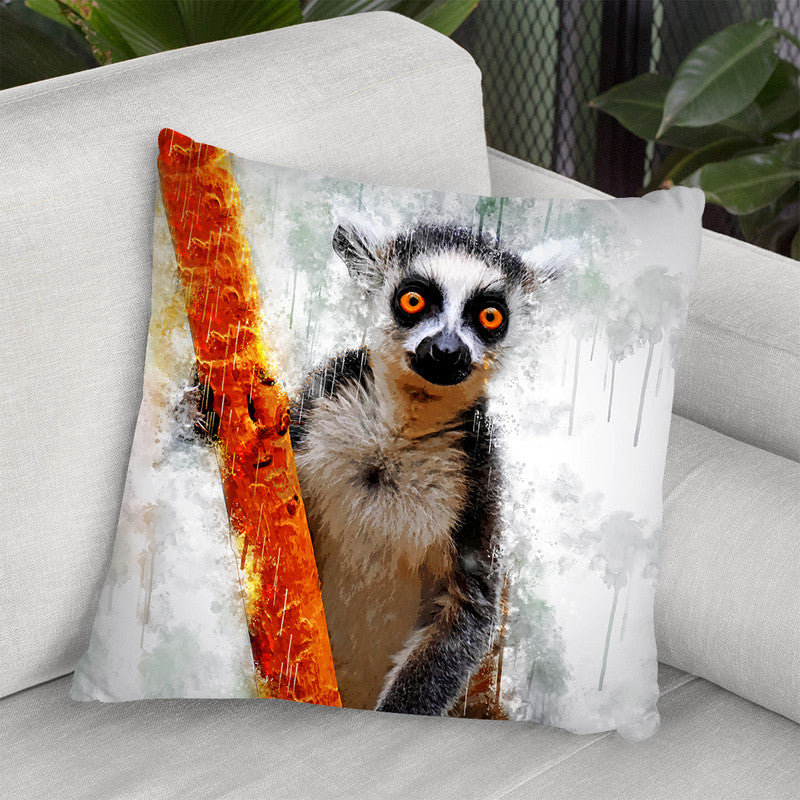 Lemur Throw Pillow By Cornel Vlad - by all about vibe