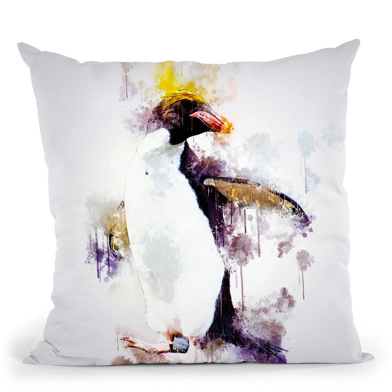 Macaroni Penguin Throw Pillow By Cornel Vlad - by all about vibe