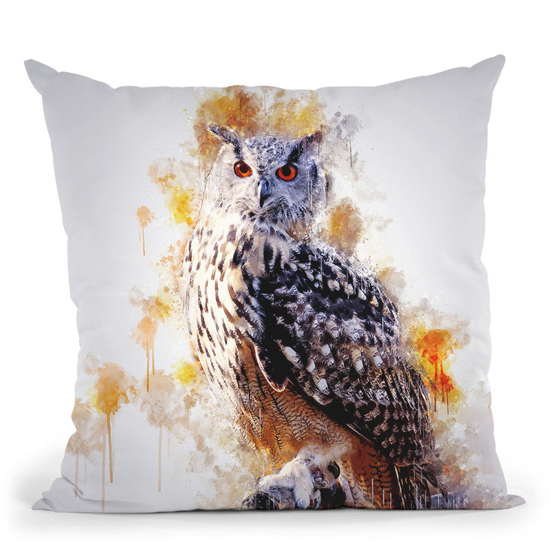 Owl On Branch Throw Pillow By Cornel Vlad - by all about vibe