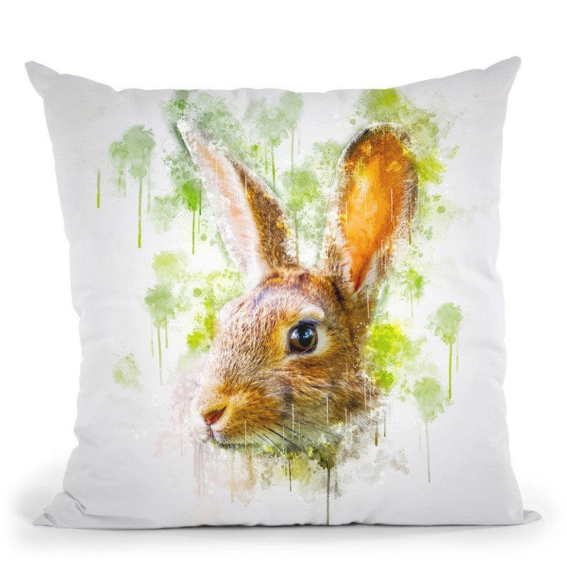Rabbit Head Throw Pillow By Cornel Vlad - by all about vibe