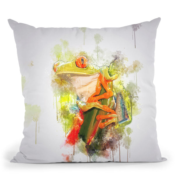 Red Eye Tree Frog Throw Pillow By Cornel Vlad - by all about vibe
