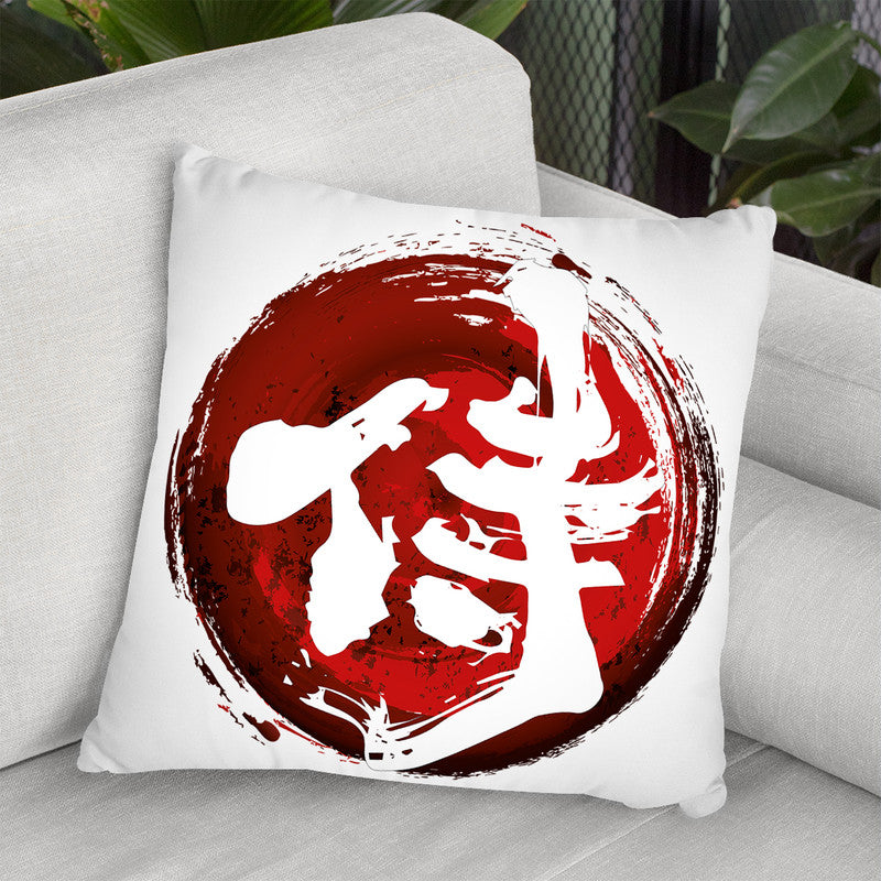 Samurai Kanji White Throw Pillow By Cornel Vlad - by all about vibe