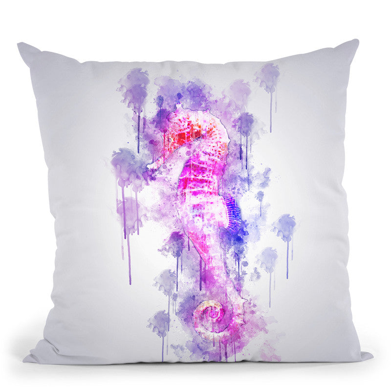Seahorse Throw Pillow By Cornel Vlad - by all about vibe