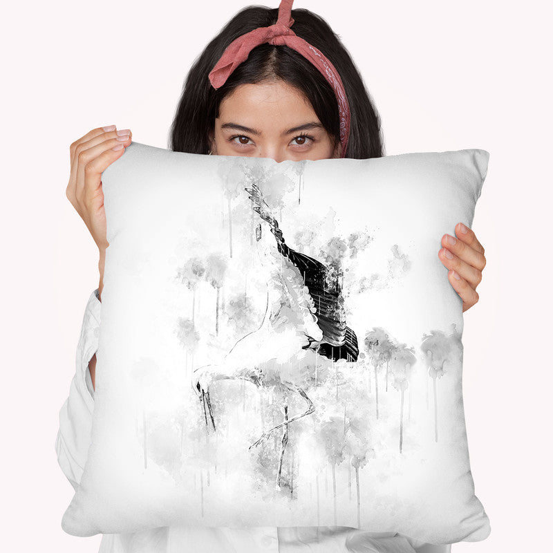 Stork I Throw Pillow By Cornel Vlad - by all about vibe