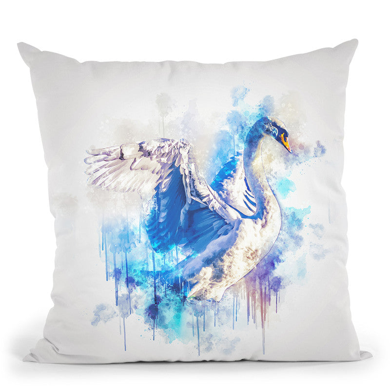 Swan Throw Pillow By Cornel Vlad - by all about vibe