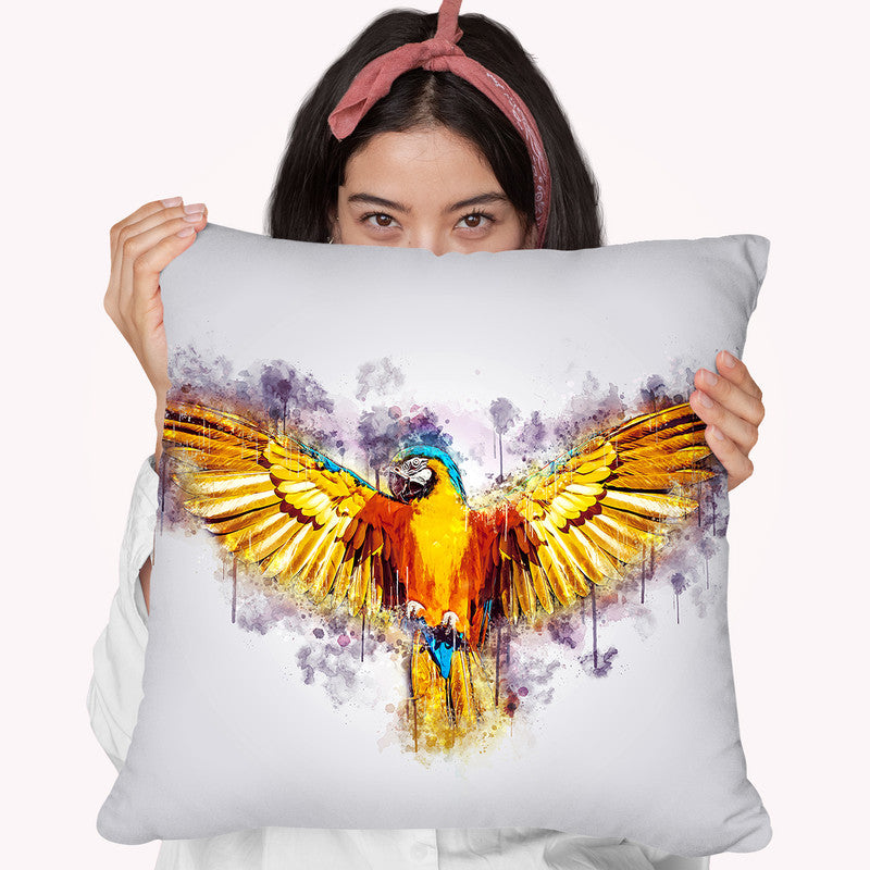Yellow Parrot Throw Pillow By Cornel Vlad - by all about vibe