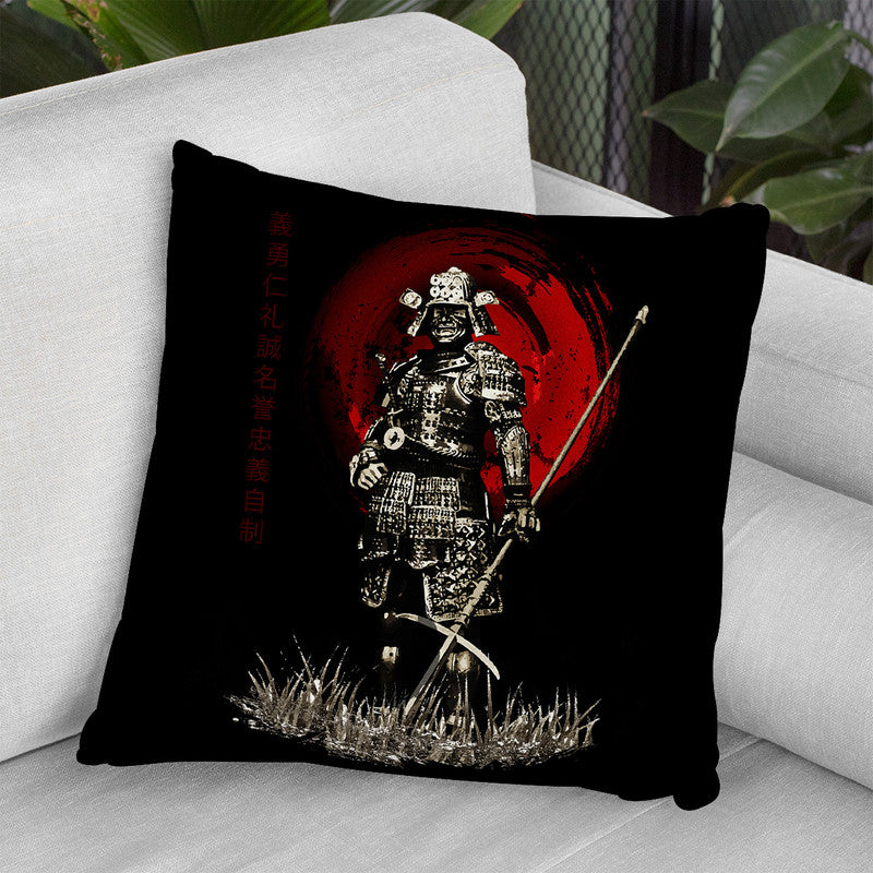Samurai With Spear Warrior Throw Pillow By Cornel Vlad