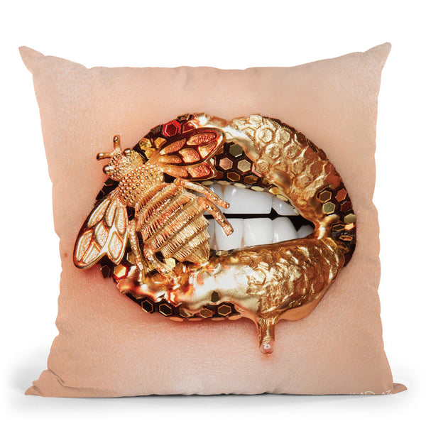 Golden Bee Throw Pillow By Vlada Haggerty - by all about vibe