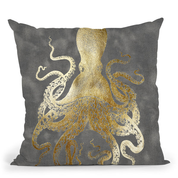Gold Foil Octopus Ii Throw Pillow By World Art Group