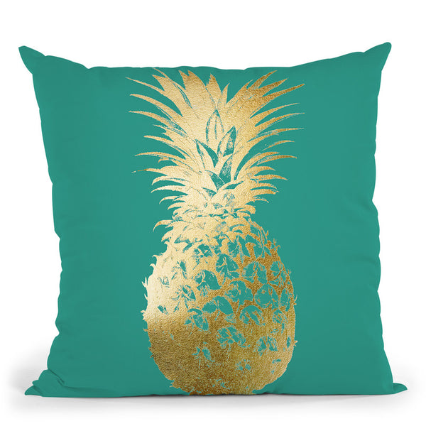 Gold Foil Pineapple I On Emerald Throw Pillow By World Art Group