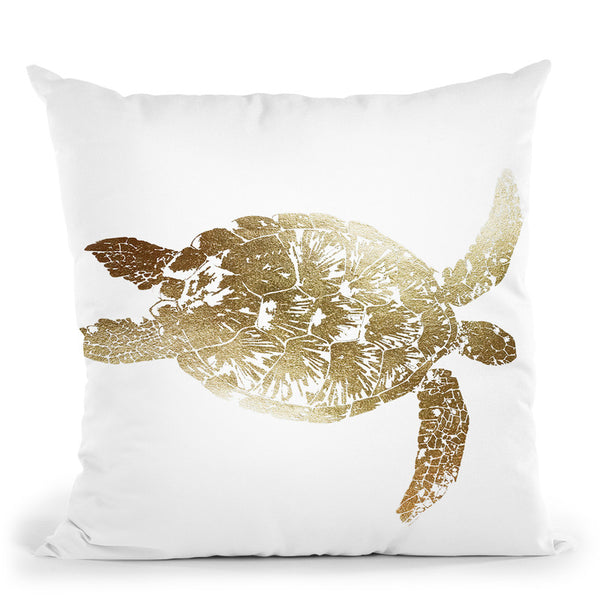 Gold Foil Sea Turtle I Throw Pillow By World Art Group