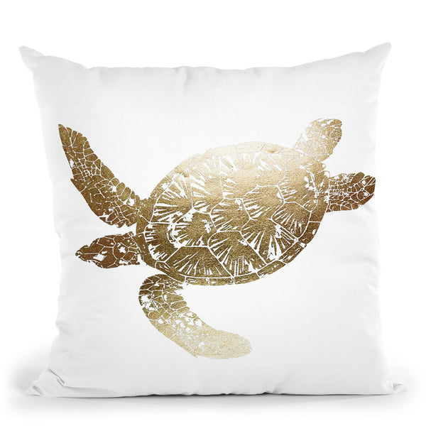 Gold Foil Sea Turtle Ii Throw Pillow By World Art Group