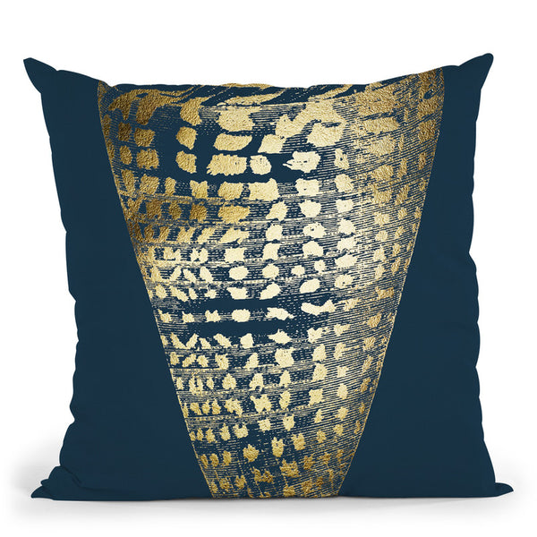 Gold Foilell I On Cobalt Throw Pillow By World Art Group