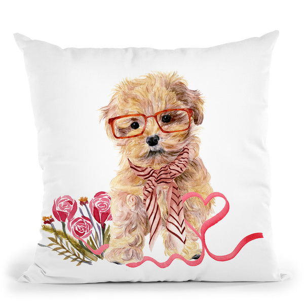 Valentine Puppy Ii Throw Pillow By World Art Group