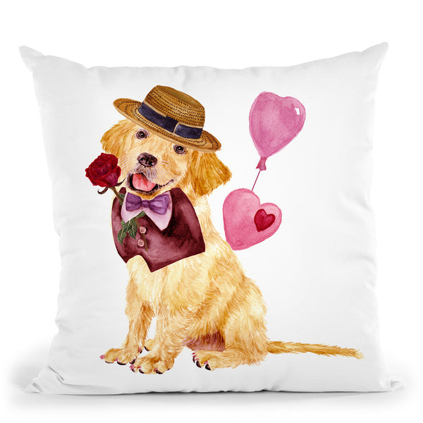 Valentine Puppy V Throw Pillow By World Art Group