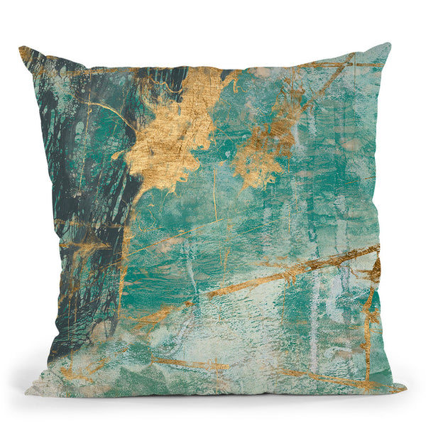 Teal Lace I Throw Pillow By World Art Group