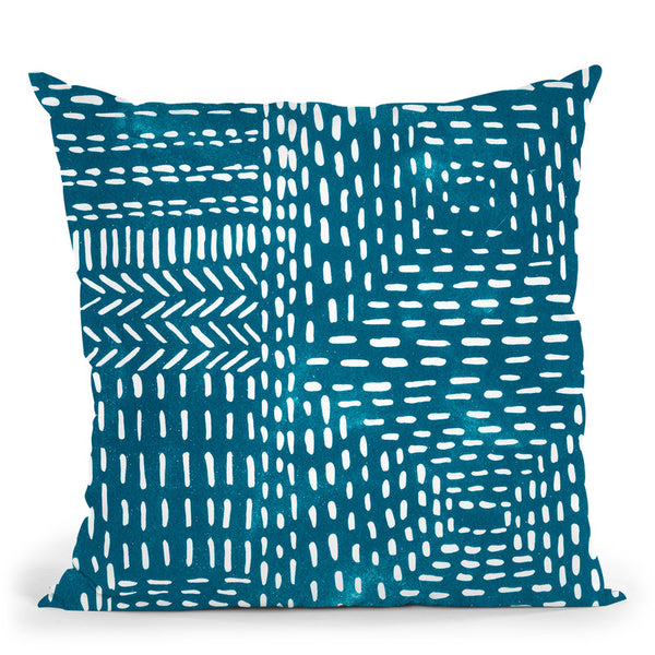 Sashiko Stitches I Throw Pillow By World Art Group