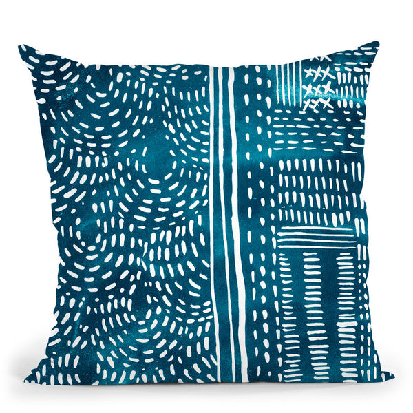 Sashiko Stitches Ii Throw Pillow By World Art Group