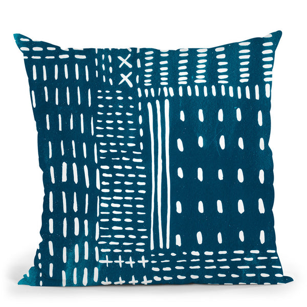 Sashiko Stitches Iii Throw Pillow By World Art Group