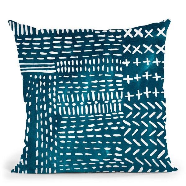Sashiko Stitches Iv Throw Pillow By World Art Group