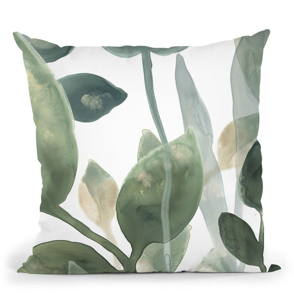 Water Leaves I Throw Pillow By World Art Group