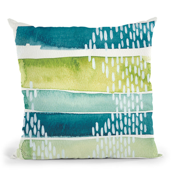 Aqua Streak I Throw Pillow By World Art Group