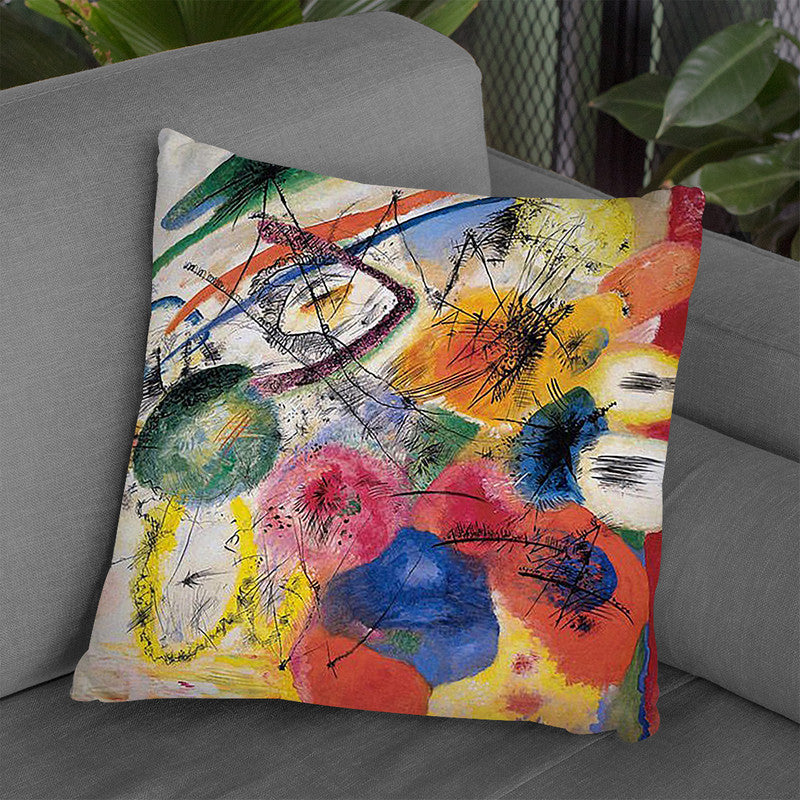 Black-Lines-1913-Wassily-Kandinsky Throw Pillow By Wassily Kadinsky