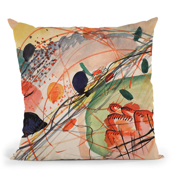 Untitled (First Abstract Watercolor) Throw Pillow By Wassily Kadinsky