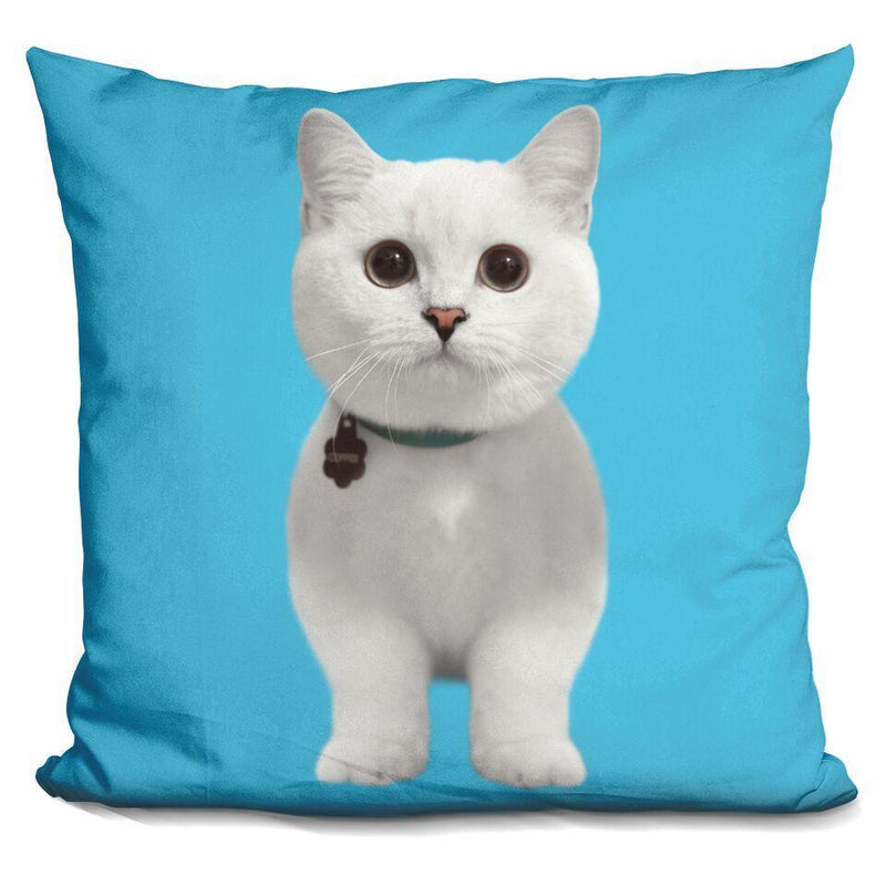 White Coffee Blue Square Pillow