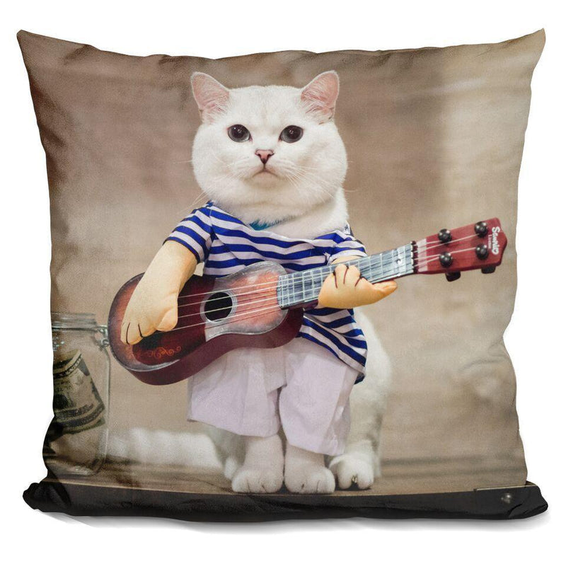 White Coffee Guitar Lifestyle Square Pillow