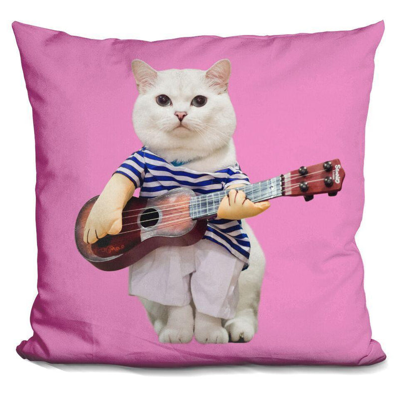 White Coffee Guitar Pink Square Pillow
